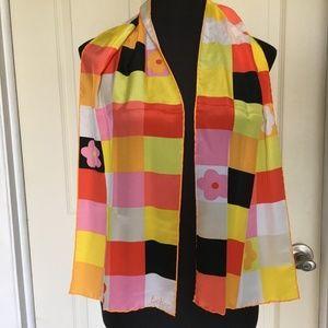 1960s Pink, Yellow, Orange Geometric Echo Scarf